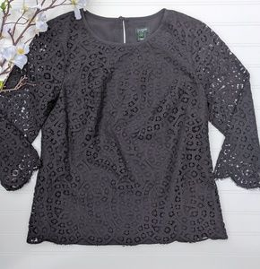 J. Crew Black Lace 3/4 Sleeved Blouse